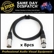 8 x 1M 120 Ohms 3 Pin DMX XLR Lighting Cable Lead Cord Wire 1 Metre DMX-512