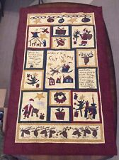 "Whimsical Machine Quilted Christmas Wall Hanging / Quilt / Throw - 44"" X 27"""