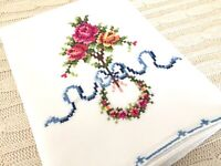 Vintage CROSS STITCH PILLOWCASE Flowers w/Blue Bow Wreath Roses Handmade READ