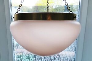 VINTAGE PINK ART DECO CEILING LIGHT with chains