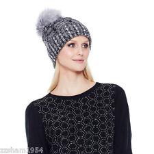 JOAN BOYCE Beanie CAP One Size Women's Hat Rhinestones Faux Fur Gray HSN NEW