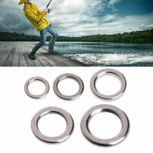 50Pcs Fishing Ring Solid Stainless Steel Snap Split Tackle Connector Practical