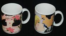 Art Deco Pop Art Roaring 20's  Coffee Mugs Morgan Enesco Lot of 2 vtg 80's