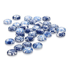 30PCS Mixed Blue and white Porcelain Pattern Glass Dome Cabochon Cameo Cabs 12mm