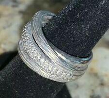 EFFY Diamond Crossover Ring SZ 7 Sterling Silver Balissima IGI Certified 1/3 Ct