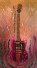 Fine Art Print - Gibson SG Electric Guitar Watercolor Painting Angus Young AC/DC