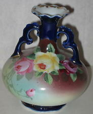 Japanese Royal Kinran Nippon Double Handle Vase w/ Rose Design and Gold Flecking