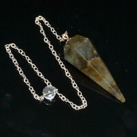 40-45 MM Natural Labradorite Crystal Healing 6 Facet Dowsing Pendulum With Chain