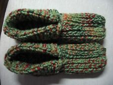 """NWOT Amish Handmade Knit Green Mix w/Cuffs Slippers Mens X Sm Wms Sm/Med 8 1/2"""""""