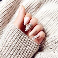 24Pcs Acrylic Designer Fake Nail tips False French Full Nails Art glue Finger