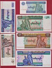 6 MYANMAR / BURMA UNC NOTES: 1-96, 5-95, 10-97, 20-84, 50-94, & 100 Kyats 1996