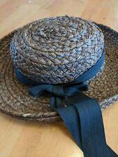 Helen Kaminski brown Hat W/Black Grosgrain Ribbon Australia 100% Raffia