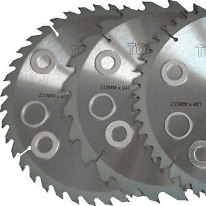 Three 235mm TCT Saw Disc Blades 24/40/48 teeth 30mm Bore. Circular Saw Blade Set