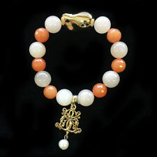 BOWERHAUS Orange Agate Bracelet - Lucky Pearl Charm with 24K Gold Plated