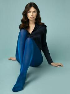 FIORE GLOSSY TIGHTS PANTYHOSE 3 CLRS COBALT BLUE GREEN AND RED 3 SIZES 70 DENIER
