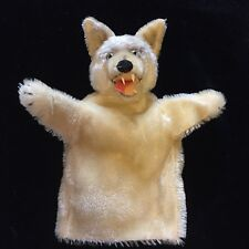 Rare Vtg Steiff Loopy Wolf Mohair Glass Eye Hand Puppet Germany-No Button Tag