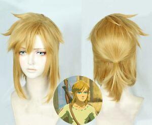 The Legend of Zelda: Breath of the Wild link Cosplay Dark gold Hair Wig Anime