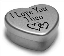 I Love You Theo Mini Heart Tin Gift For I Heart Theo With Chocolates or Mints
