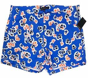 Eloquii Women's Plus Size Shorts Size 18 Floral Blue Orange Pockets Stretchy NWT