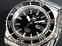 SEIKO 5 SNZH55J1 Automatic 100m Diver New in Box Made in Japan Black #