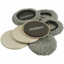 "Reusable Rubber Foam Sliders Furniture Movers for All Floor Types 5"" Round 4pack"