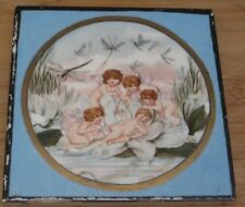 unusual english victorian tile hand painted cupids with penned poem to back