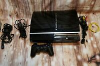 Sony Playstation 3 PS3 Fat 80GB L01 Console w/ Controller and Cables *Tested*