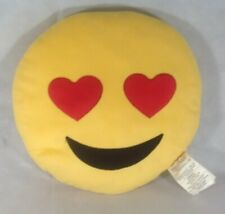 "Plush 12"" Smiling Face With Heart Eyes Decorated Pillow.  Hb7"