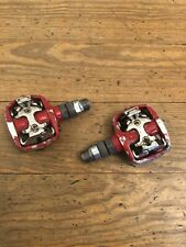 SPD Mountain Bike Pedals Dual Sided Clipless Red