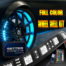 All-Color Wheel Well Tire LED Light Kit 4pc Custom Accent Glow Neon Strips Light