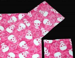 Betsey Johnson XOX Pink LOVE Skulls Silhouette Roses Plush Velour Hand Towel NEW