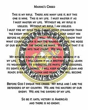 "Marine's Creed Printed On COTTON Fabric for Quilting or Applique  8"" x 10"""