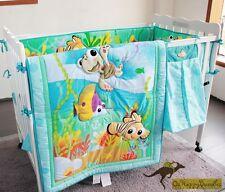 New Baby Boys 8 Pieces Cotton Nursery Bedding Crib Cot Sets-- Blue Ocean