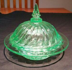 Vintage Green Depression Glass lidded Dish Bowl