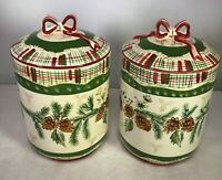 "Harry & David Pinecone Collection Christmas Cookie Jar Ribbon/Plaid 10.5""H x 6""W"