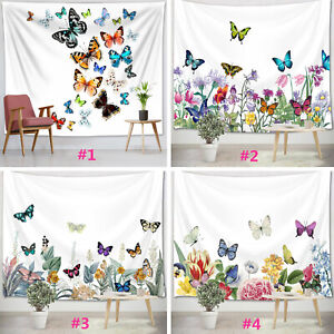 Colorful Floral Plants Tapestry Flower Butterfly Wall Hanging Bedroom Dorm Decor