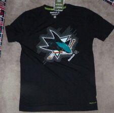 NEW NHL San Jose Sharks T Shirt Youth Boys L Large 14 16 Playdry Black NEW NWT