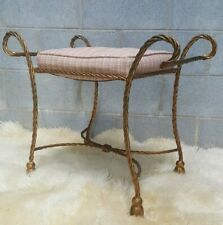 MID CENTURY MODERN GOLD METAL BENCH Rope Tassel Vanity Stool Seat Chair