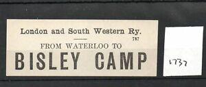 London & South Western Railway LSWR - Luggage Label (1737) Bisley Camp