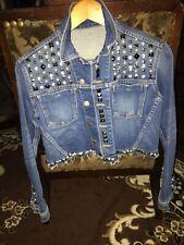 L'agence Rhinestones Denim distressed woman jacket Sz Small