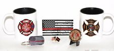 (2) Two 11.oz Firefighter/Rescue Coffee Cups with Saint Florian Challenge Coin