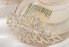 Bridal gold crystal hair comb