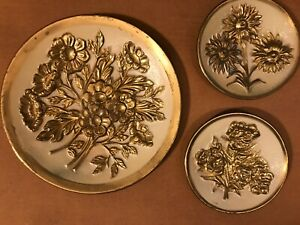 Set Of 3 Vintage Embossed Brass Wall Plates Sunflower hammered Wall Plaque