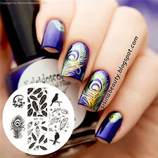 1 Pc Birds Dragon Feather Nail Art Stamp Template Image Plate 5.5cm
