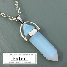 Silver Plated Opalite Point Pendant & Chain Wicca Reiki Chakra LOVING VIBES