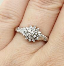 9CT WHITE GOLD DIAMOND CLUSTER RING SIZE P (US 7 1/2), ENGAGEMENT, 0.25 DIA TCW