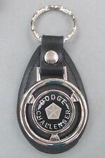 Black CHALLENGER Dodge Mini Steering Wheel Black Leather Key Ring 1970 1971 1972