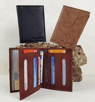 Kleine Leder Brieftasche ReiseEtui mit Dokumenten-Fach & vielen  Kartenfächern