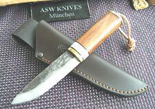Jagdmesser Finnenmesser Carbonstahl Jagdmesser 20,5 cm Lederscheide Handarbeit
