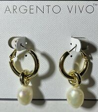 Argento Vivo 18k Gold Plated Pearl Hoop Earings New